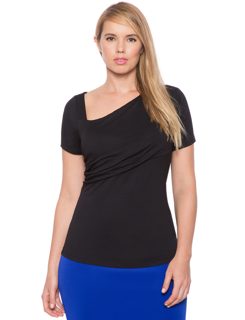 Asymmetrical Neckline Tee. Available in black, white. Eloquii. $42. ($50 off every $100 with code: ENJOY.) (Rayon)