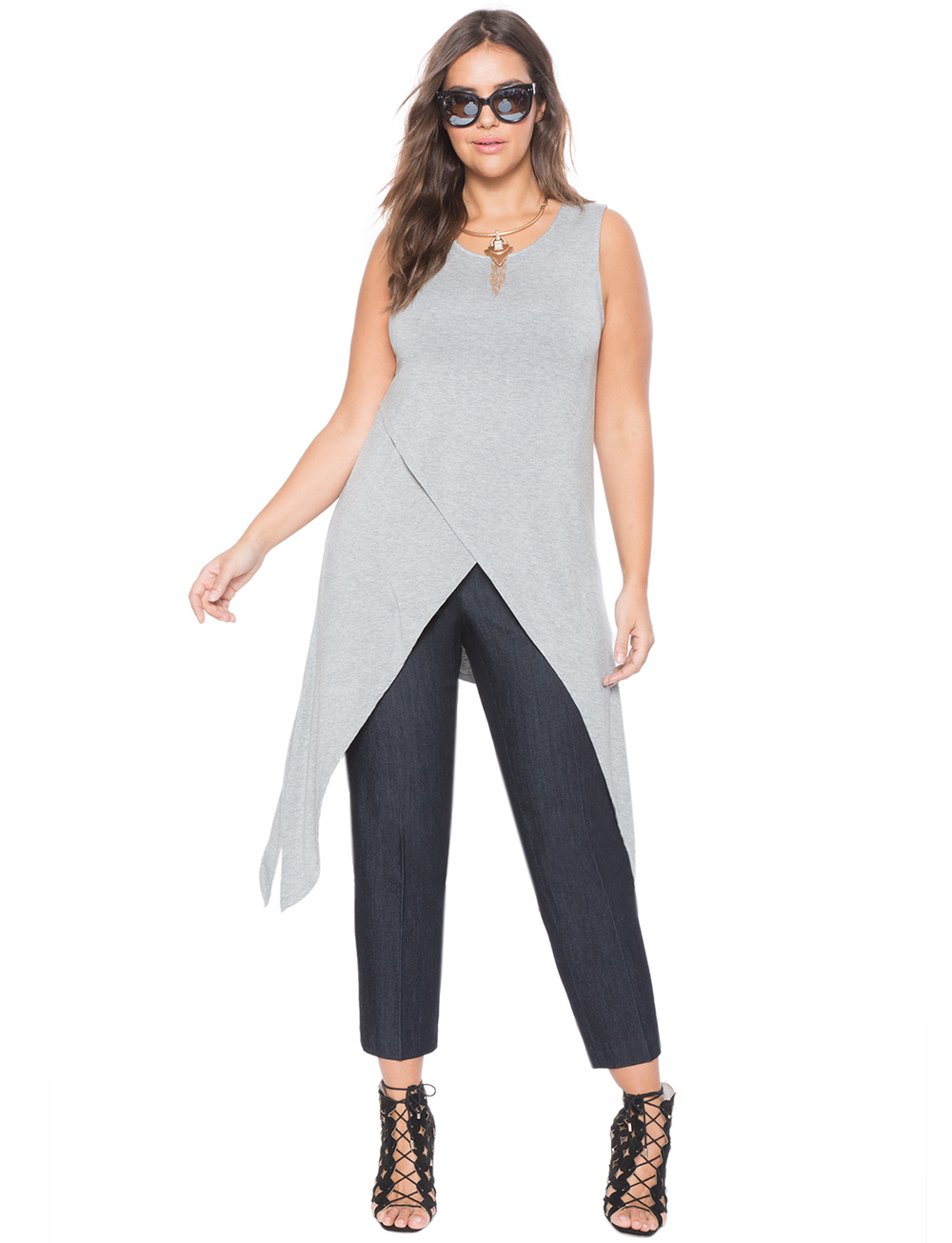 Handkerchief Wrap Tank Top. Available in three colors. Eloquii. $55. ($50 off with every $100 purchase.) (rayon)