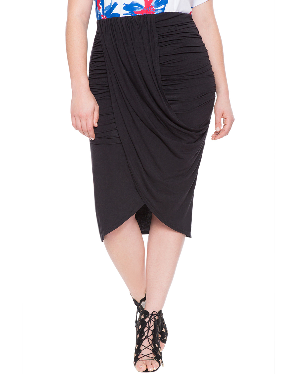Draped Wrap Skirt. Available in black, wine. Eloquii. $69.($50 off every $100 with code: ENJOY.) (rayon)