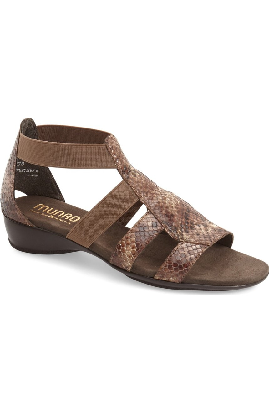 Munro Zena Snake Embossed Sandal. Nordstrom. $179. (Available in multiple colors/prints up to size 14ww).