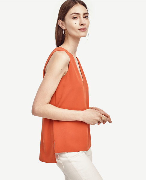 Crepe Hi Lo V-Neck Shell. Available in multiple colors and in tall. Ann Taylor. $49-59. (Additional 40% off at checkout.)