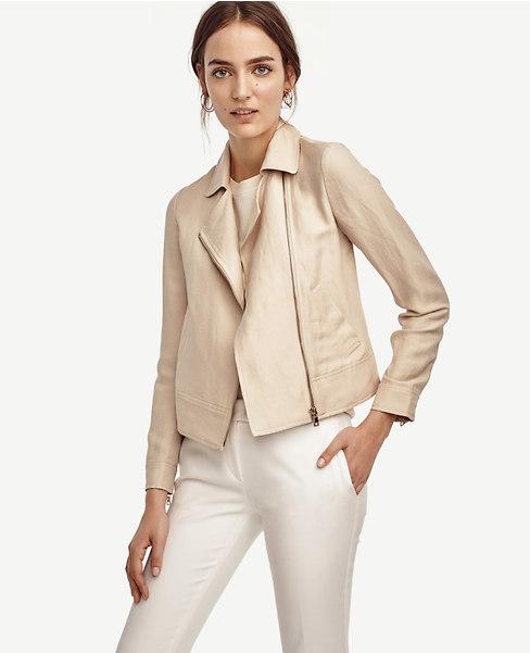 Linen Blend Moto Jacket. Ann Taylor. $169.