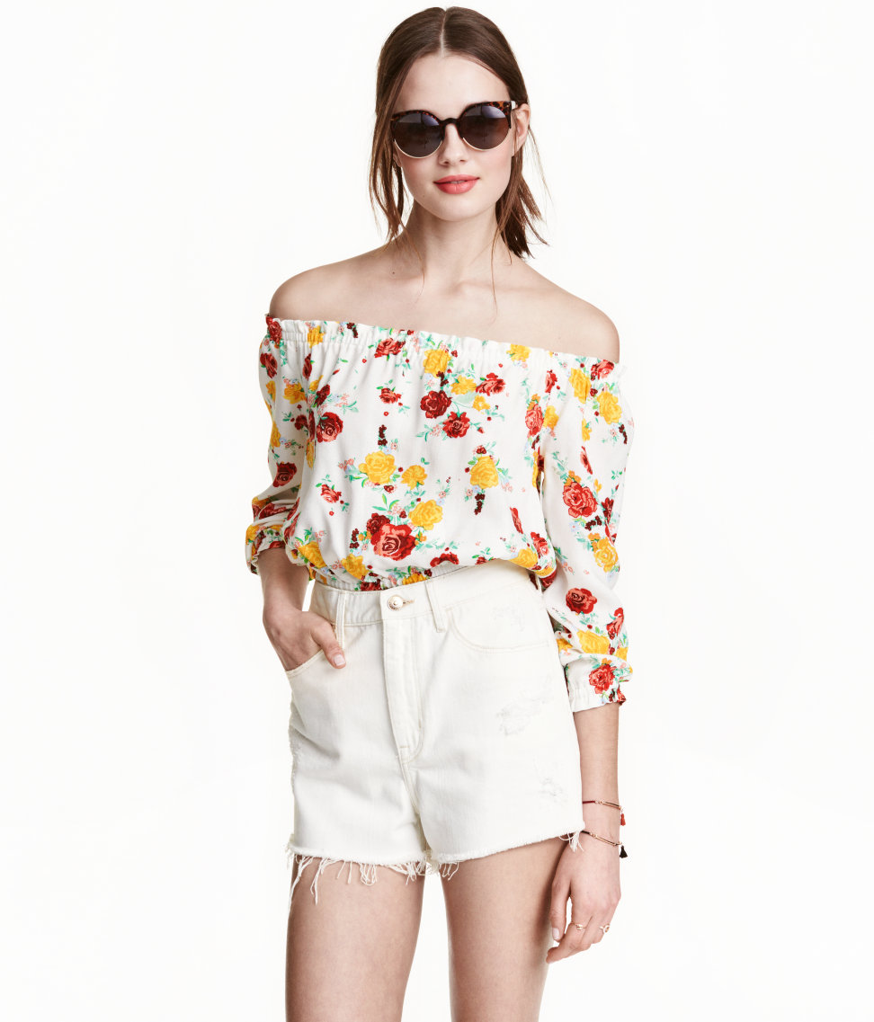 Short Off the Shoulder Blouse. H&M. Multiple colors and prints available. $17.