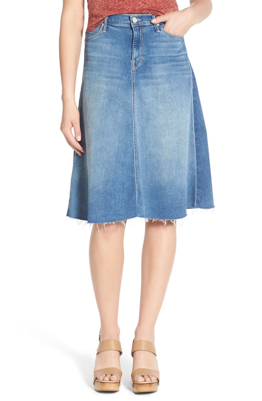 MOTHER Fray Denim Circle Skirt. Nordstrom. Was: $228 Now: $152.