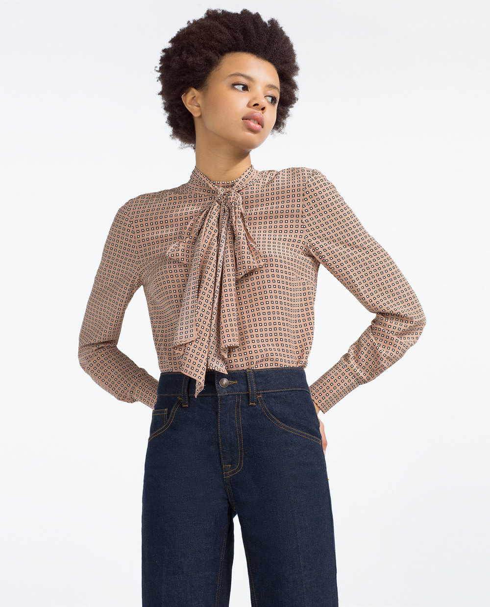 Printed Tie Neck Blouse. Zara. $49.