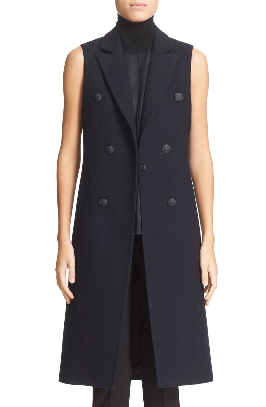 rag & bone  'Faye' Longline Double Breasted Wool Blend Vest. Nordstrom.Was: $575 Now: $384.