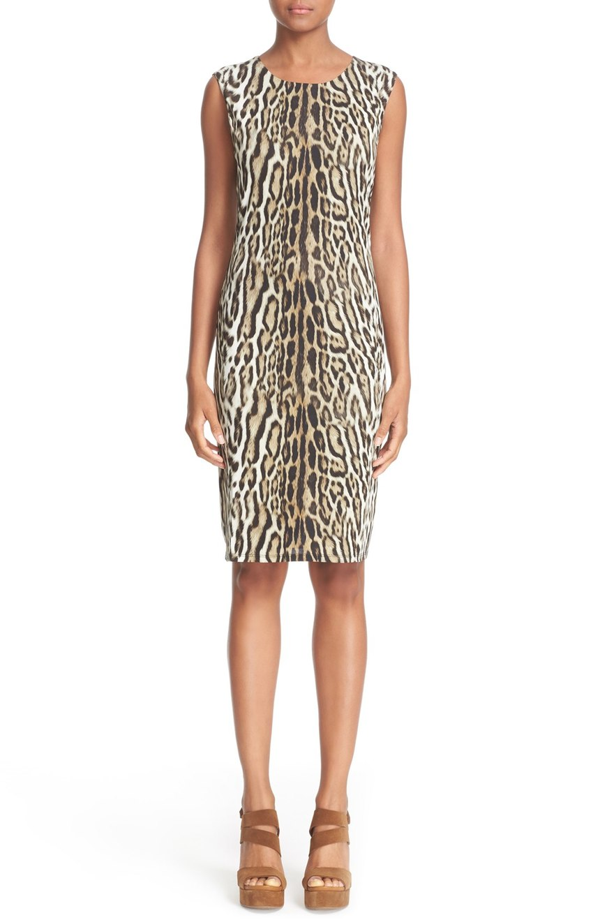 Roberto Cavalli  Leopard Print Sleeveless Sheath Dress. Nordstrom. Was: $755 Now: $529.
