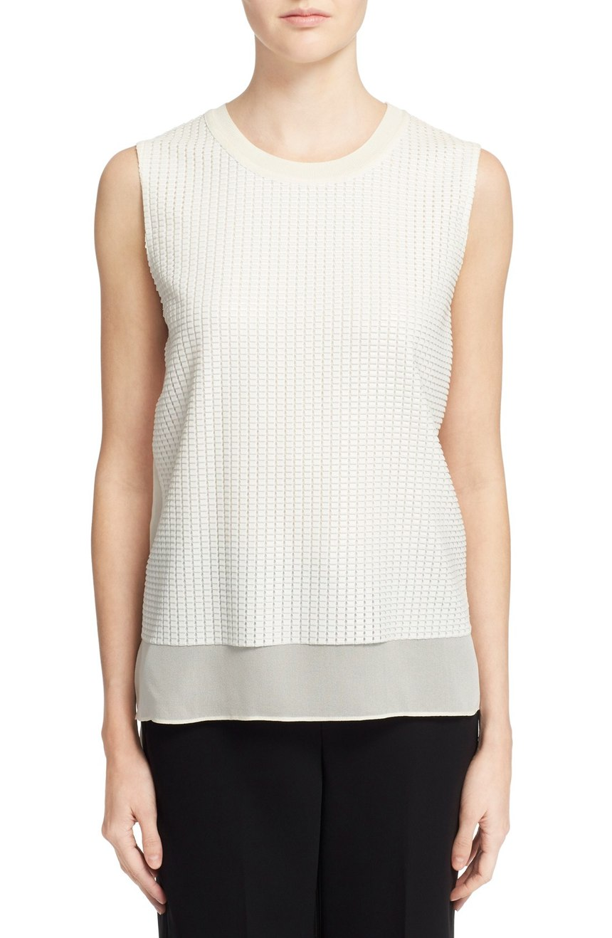 Vince  Sleeveless Mesh Overlay Blouse. Available in white, black. Nordstrom. Was: $295 Now: $196.