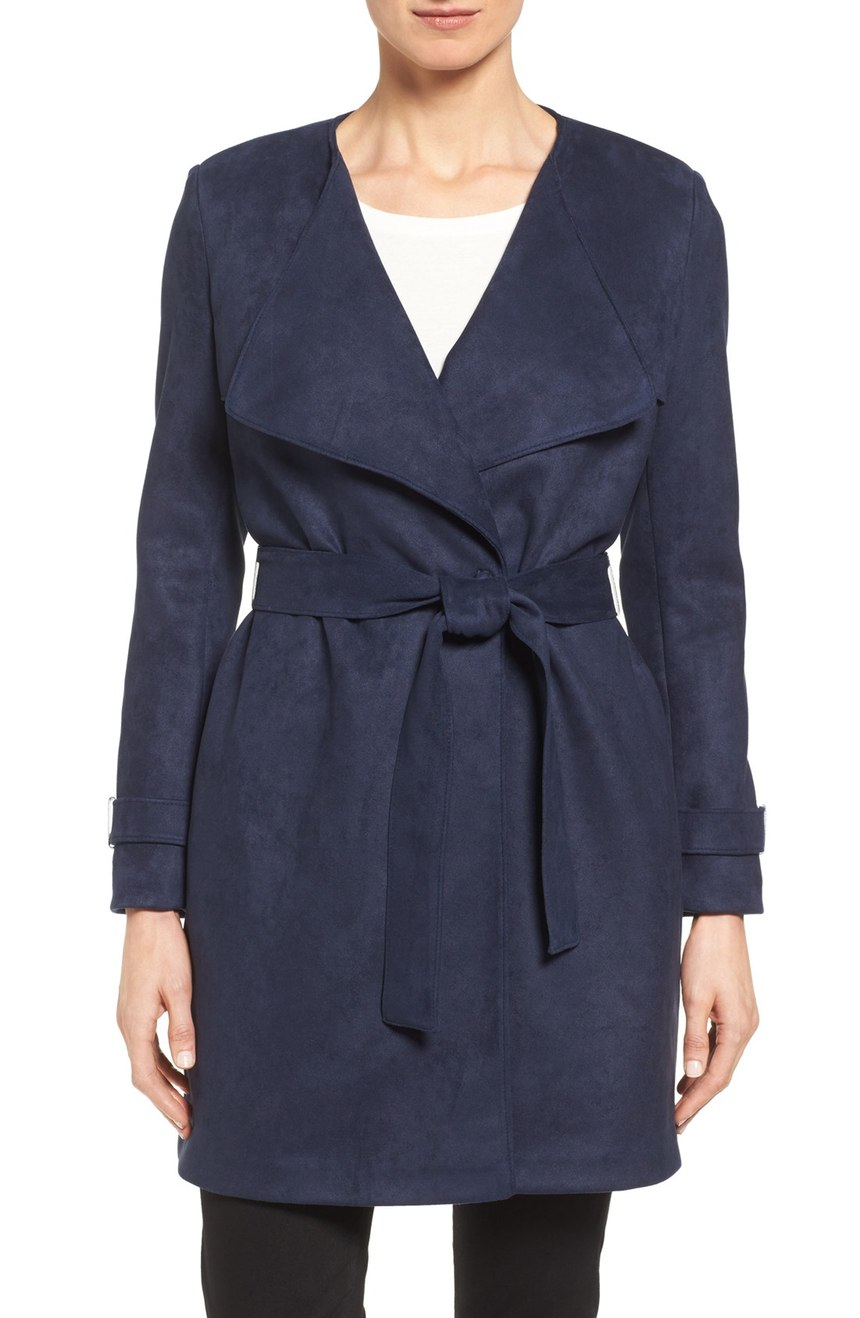 Via Spiga  Drape Front Faux Suede Jacket. Available in navy, vucuna. Nordstrom. Was: $228 Now: $149.