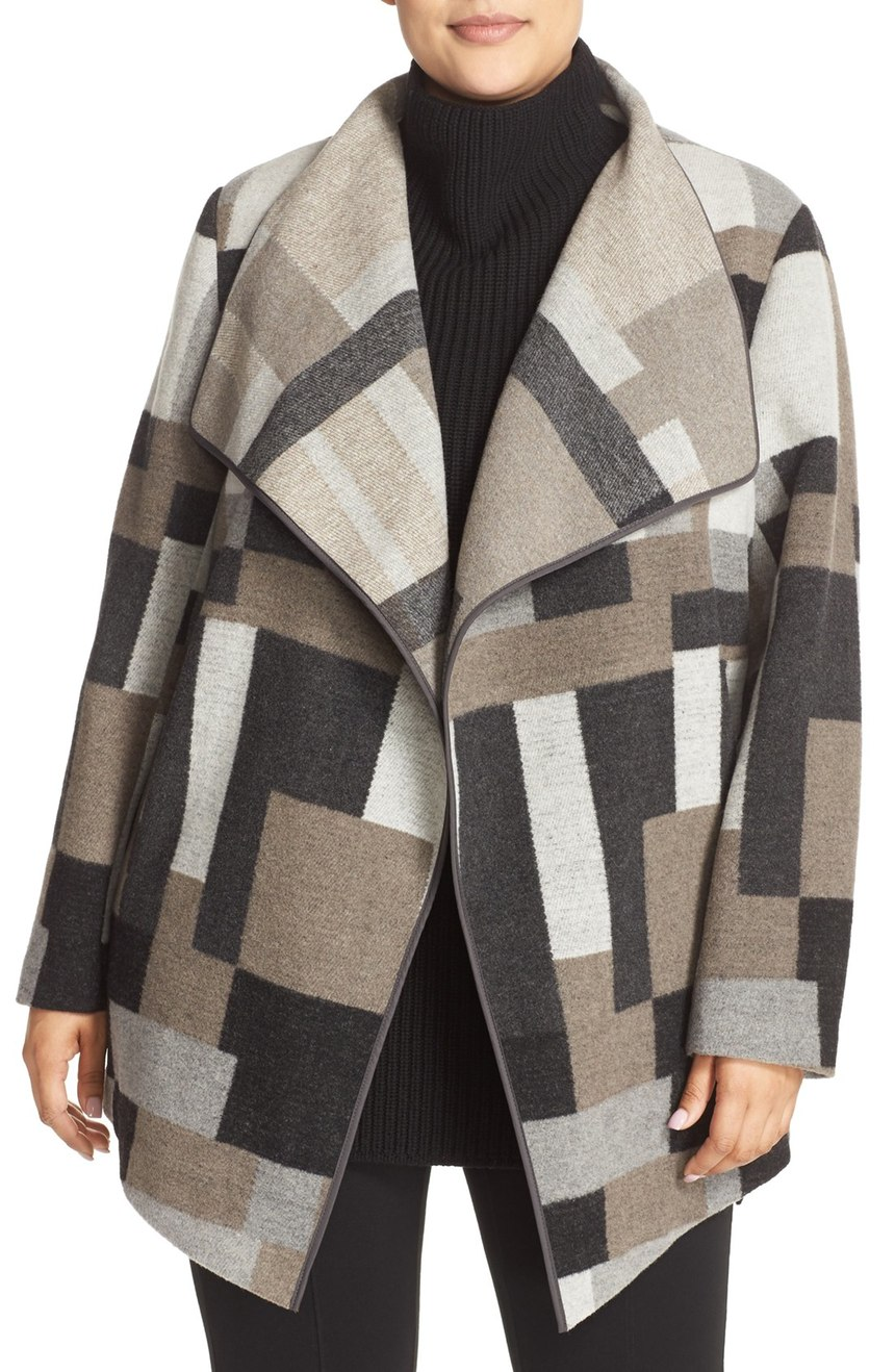 French Connection Geometric Print Blanket Coat (Encore Coats) (plus size). Nordstrom. Now: $109 Will be: $168.