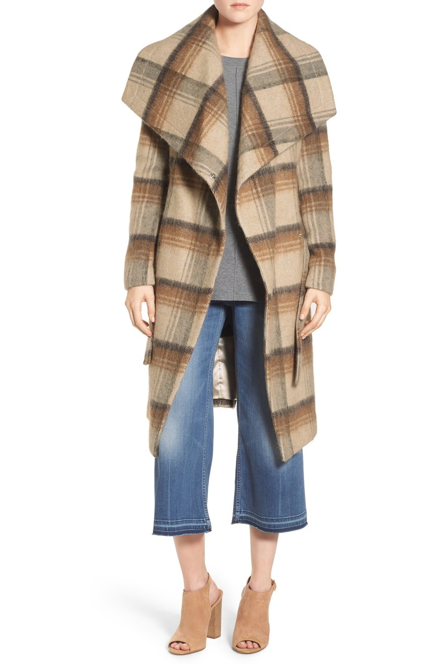 BCBGeneration Belted Plaid Wrap Coat. Nordstrom. Now: $139. Will be: $178.