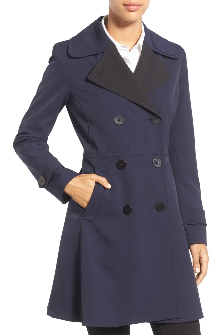 Trina Turk 'Tara' Fit & Flare Rain Coat. Available in multiple colors. Nordstrom. Now: $298. Will be: $450.