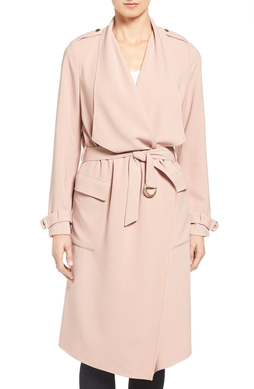 Eliza J Drape Front Water Repellent Wrap Trench Coat. Nordstrom. Now: $139 Will be: $210.