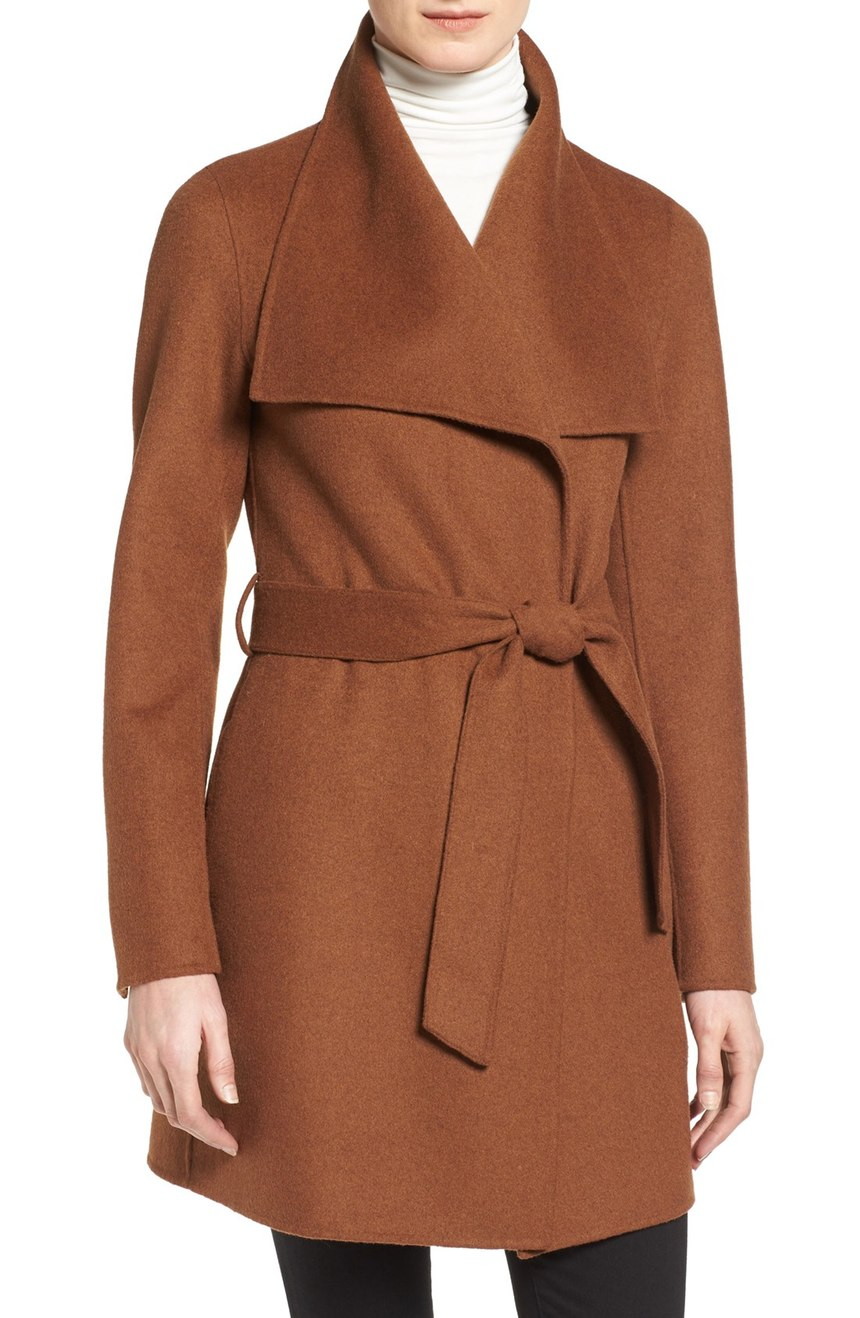 Anniversary Sale Early Access Tahari 'Ella' Belted Wool Blend Wrap Coat (Regular & Petite). Available in vicuna, black. Nordstrom. Now: $149. Will be: $248.