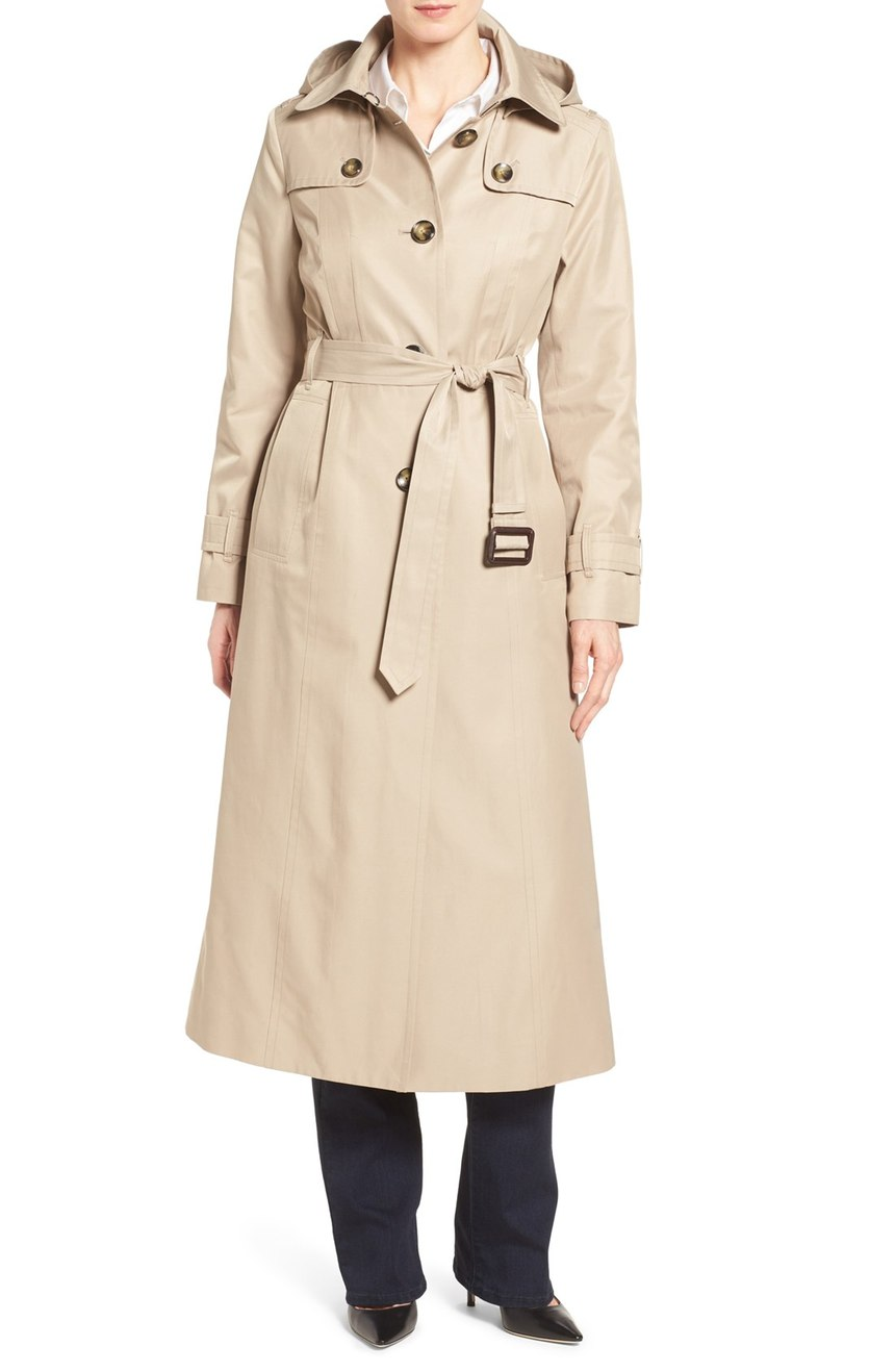 London Fog Long Trench Raincoat with Removable Hood. Available in black, toffee. Nordstrom. Now: $159. Will be: $258.