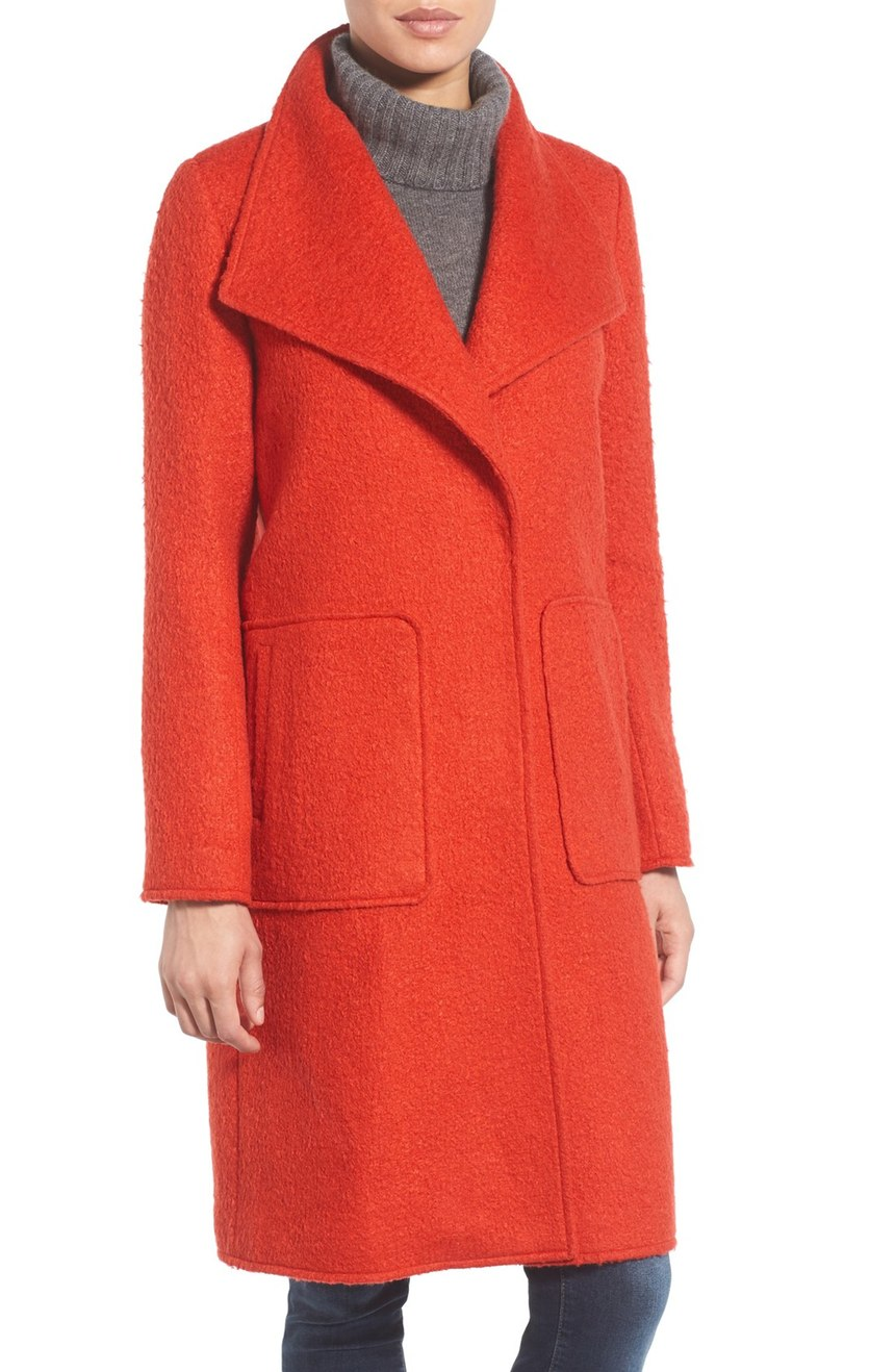 Bernardo Textured Long Coat (Regular & Petite). Available in burnt orange, evening blue. Nordstrom. Now: $129. Will be: $198. (Also available in plus size.)