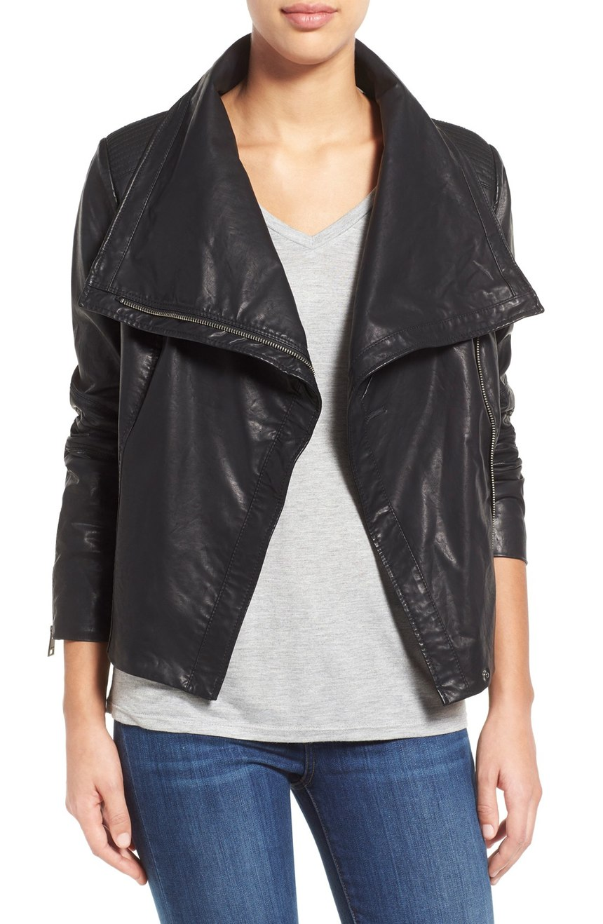 Levi's ®    Cowl Neck Faux Leather Jacket. Nordstrom. Now: $99. Will be: $150.