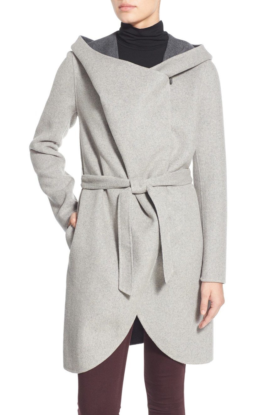 Soia & Kyo   Reversible Double Face Hooded Wrap Jacket. Available in grey, camel. Nordstrom. $299. $450.