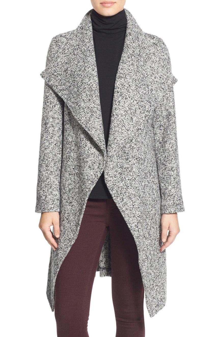 bebe Tweed Wrap Coat. Nordstrom. Now: $99. Will be: $168.