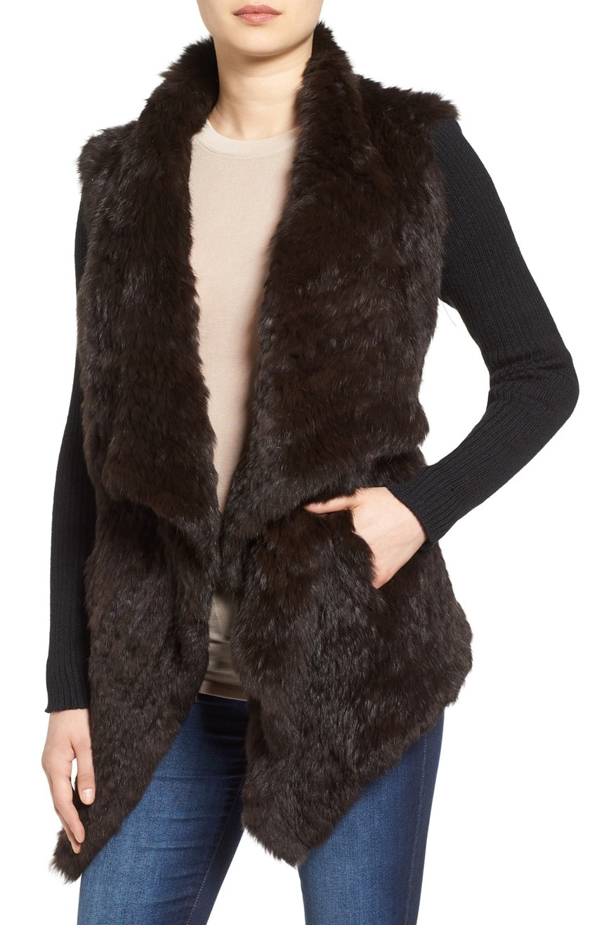 Love Token Genuine Rabbit Fur Jacket with Knit Sleeves. Nordstrom. Now: $298 Will be: $450.