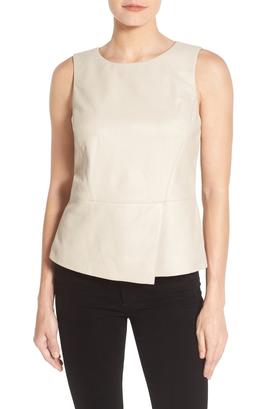 Halogen®  Leather Peplum Shell. Available in black, sand. Nordstrom. Now: $99. Will be: $168.
