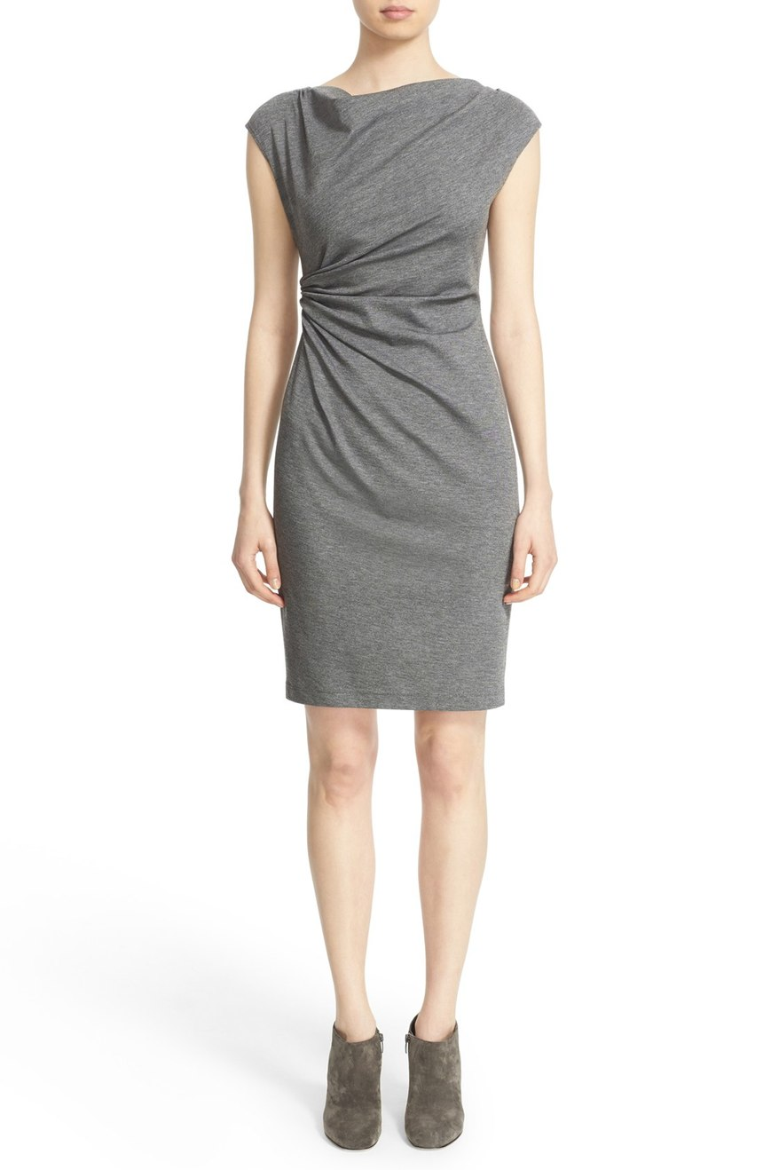 Lafayette 148 New York  Drape Neck Ponte Dress (Regular & Petite). Available in imperial, grey. Nordstrom. Now: $265. Will be: $398.