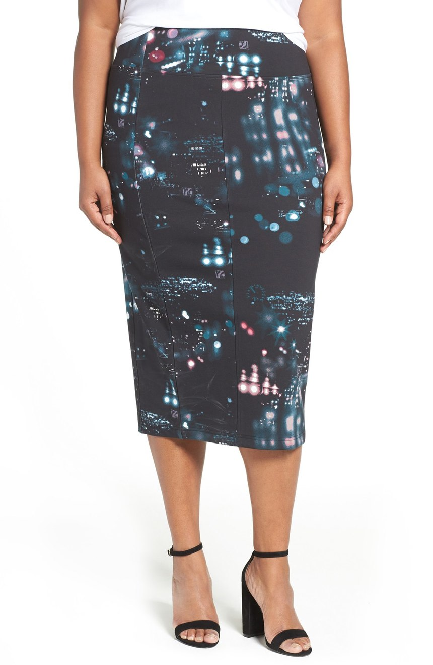 Melissa McCarthy Seven7  Digital Print Ponte Pencil Skirt (Plus Size). Nordstrom. Now: $51. Will be: $79.