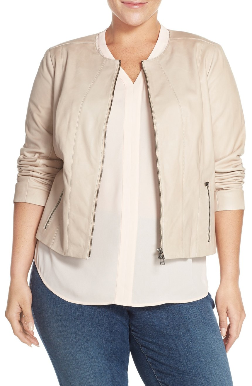 Halogen®  Collarless Leather Jacket (Plus Size). Available in black, tan. Nordstrom. Now: $218. Will be: $328.