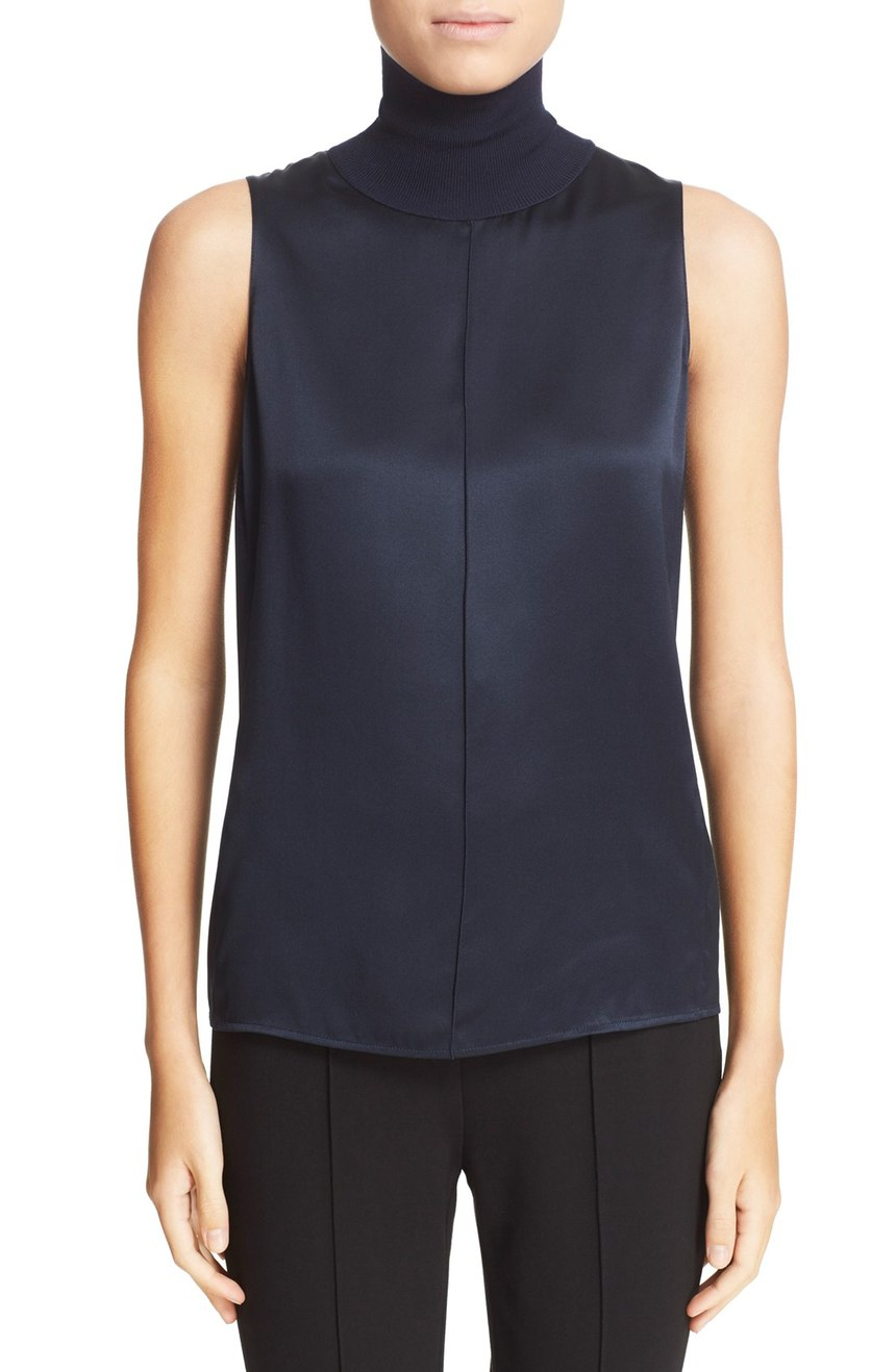 rag & bone  'Singer' Silk Sleeveless Turtleneck Top. Available in black, salute. Nordstrom. Now: $196. Will be: $295.