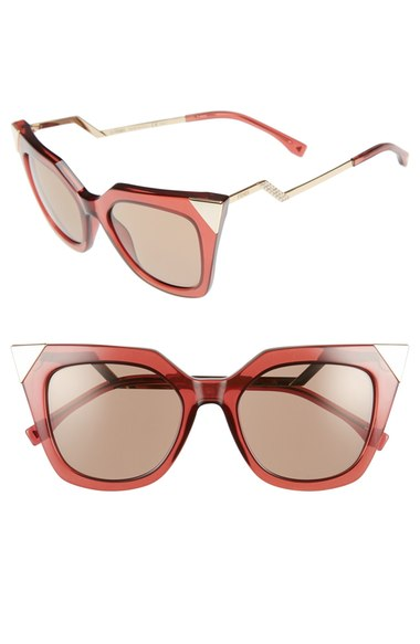Fendi  52mm Cat Eye Sunglasses. Available in two colors. Nordstrom. Now: $310. Will be: $465.