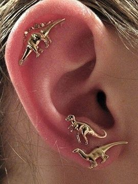 Golden Cute Dinosaur 3 Pack Earrings. Choies. Was: $9 Now: $5.