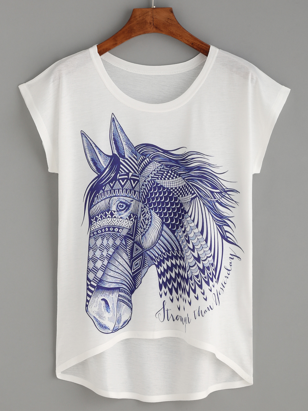 White Horse Print High Low Tee. Shein. Was: $12 Now: $7.