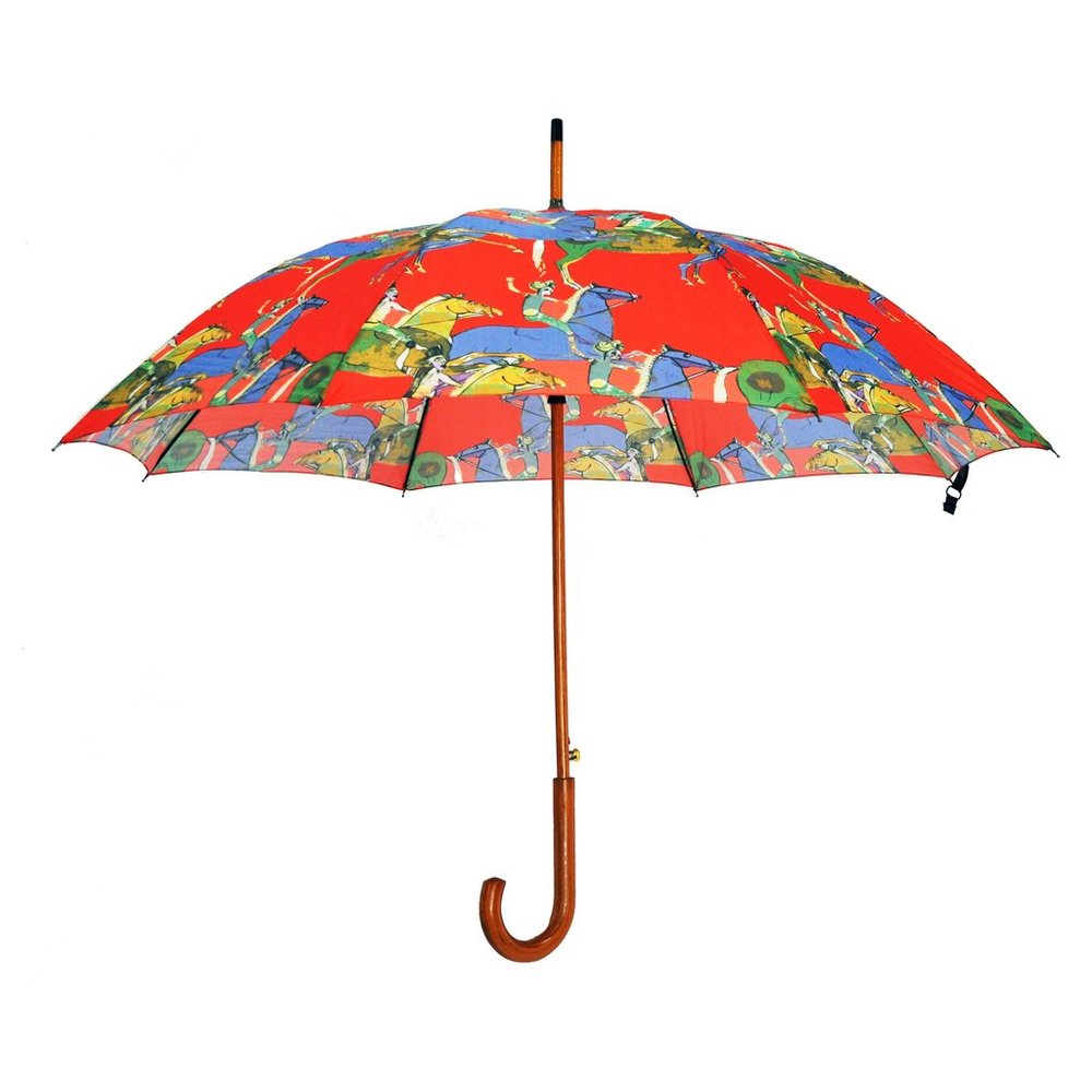 JESSICA RUSSELL FLINT GALLOPING HORSES WOODEN HANDLE UMBRELLA. WOLF & BADGER. $56.