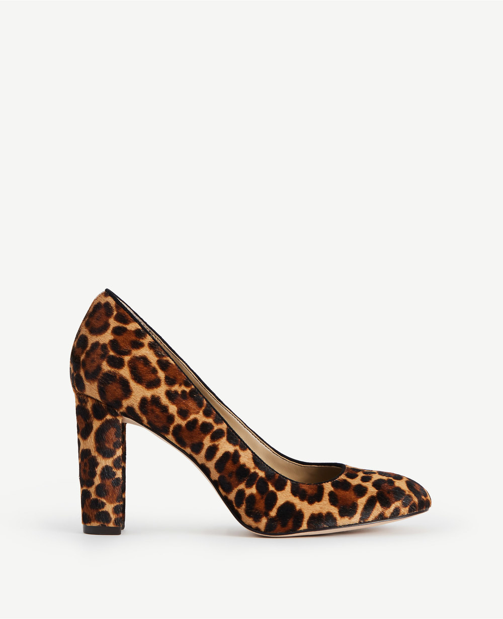 "Drea Leopard Print Calf Hair (AKA, ""pony"") Block Heel Pumps. Ann Taylor. $148. Additional 40% off with code: FRIENDS40."