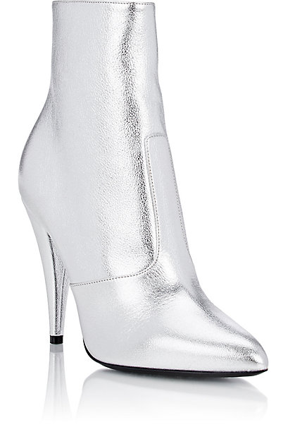 "SAINT LAURENT Metallic ""Fetish"" Ankle Boots. Barneys Warehouse. Was: $1,095. Now: $439."