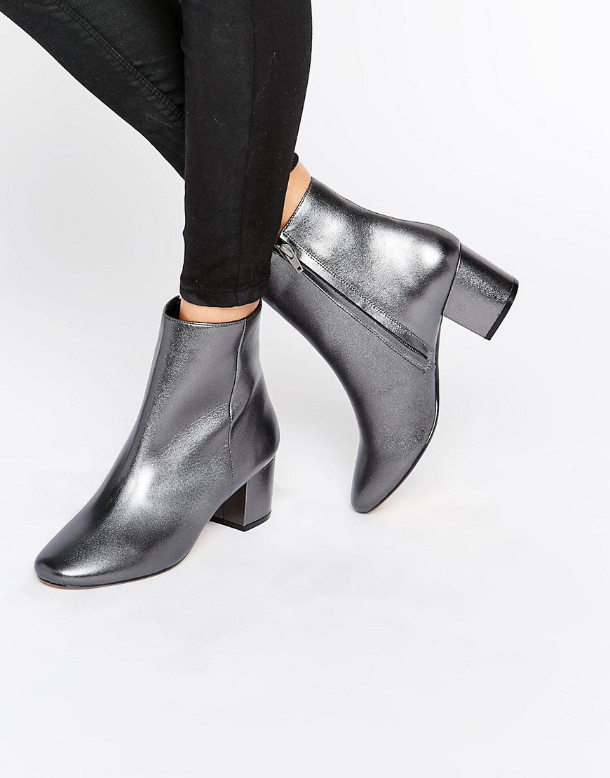 Dune Pebble Pewter Metallic Block Heeled Ankle Boots. ASOS. $185.