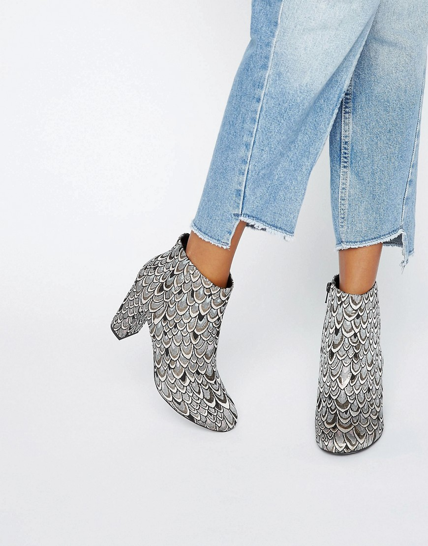 Miss Selfridge Jacquard Heeled Ankle Boot. ASOS. $120.