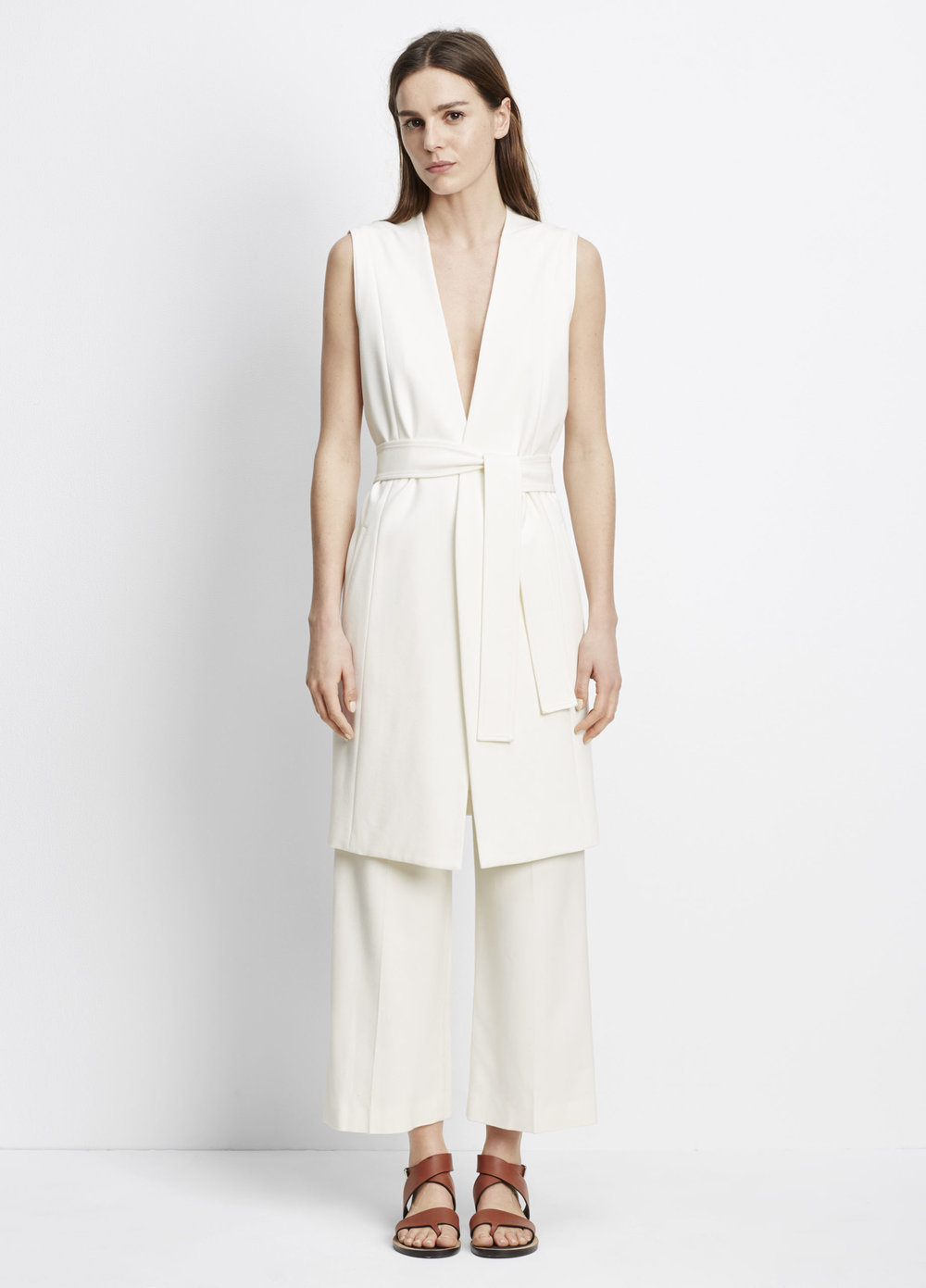 Vince Lightweight Ponte Side Slit Vest. Available in off white, black. Vince. Was: $375 Now: $150.