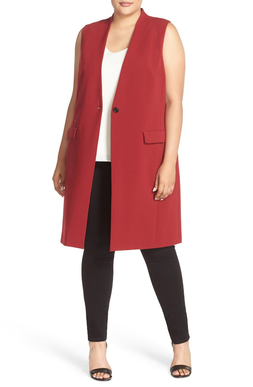 Halogen One Button Long Vest (Plus Size). Available in red, black. Nordstrom. $119.