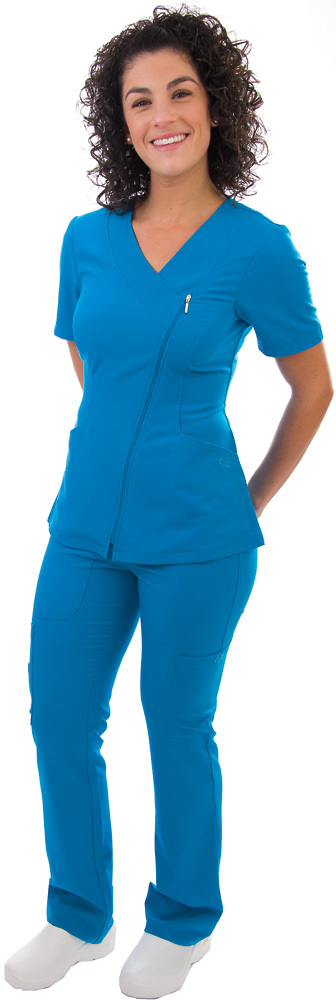 4 Way Stretch Asymmetrical Zipper Top Sku:575. Available in multiple colors including dark purple. Head to Toe Uniforms. $36.