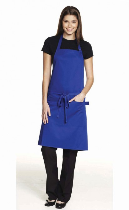 Popper Strap Apron with Pocket. Available in multiple colors including purple and orange. Simon Jersey. $17.