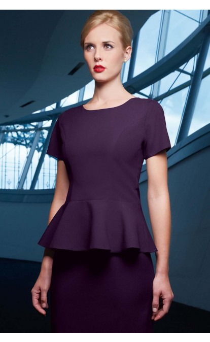 Practica Polyester Peplum Top. Simon Jersey. Available in black, grey, purple. $39.
