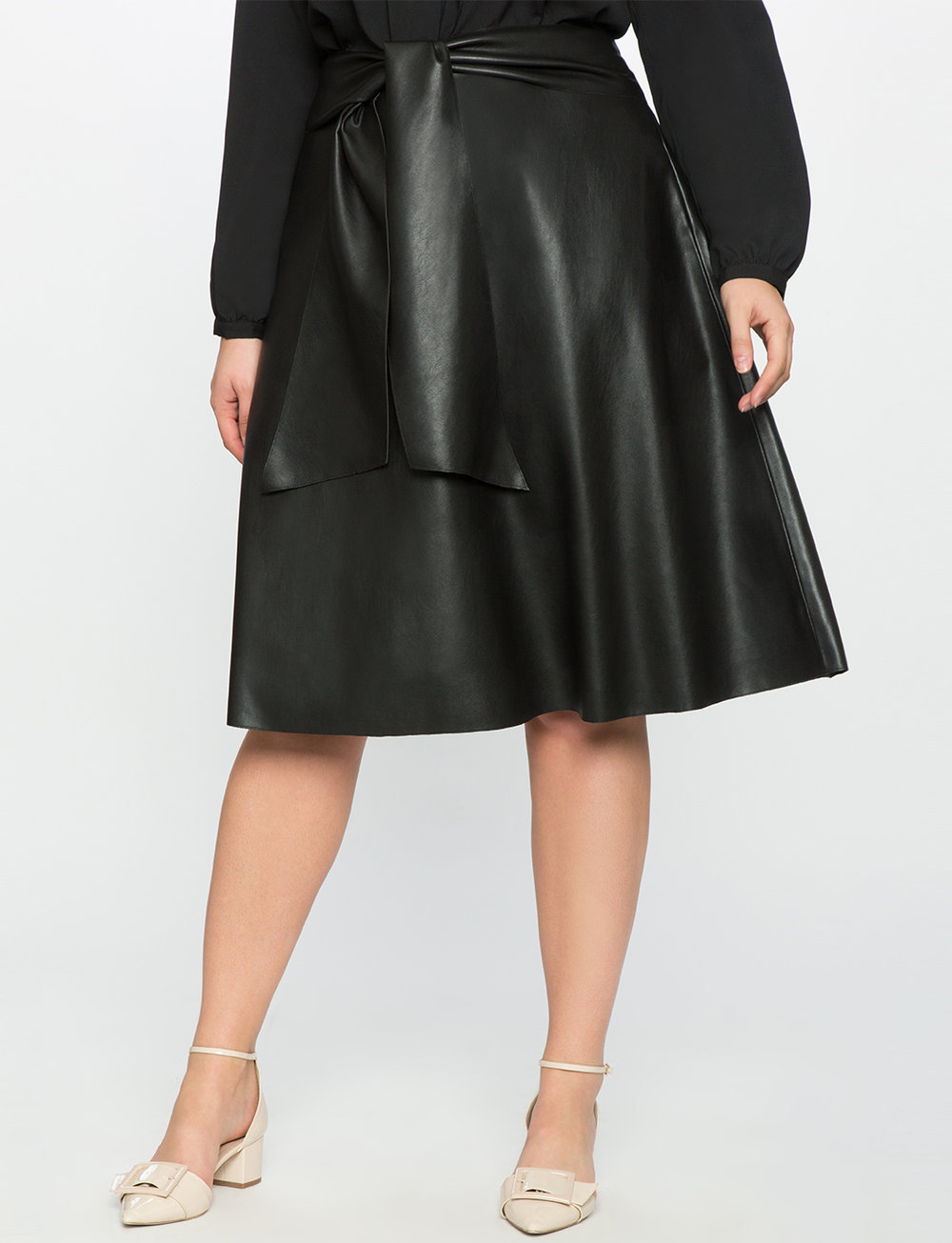 Studio Faux Leather Midi Skirt. Eloquii. $99.