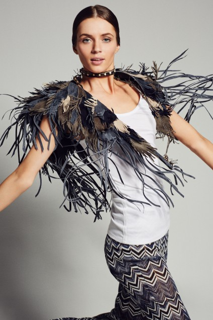 Feather Leather Shawl. Calypso St. Barth. $395.