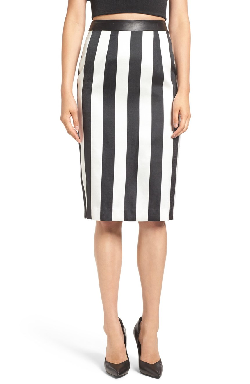 Kendall + Kylie Stripe Pencil Skirt. $158.