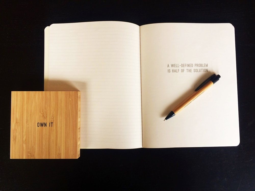 Lined Notebook by Simple Intentions & Bamboo Tile by Simple Intentions. Notebook: $8. Bamboo: $14.