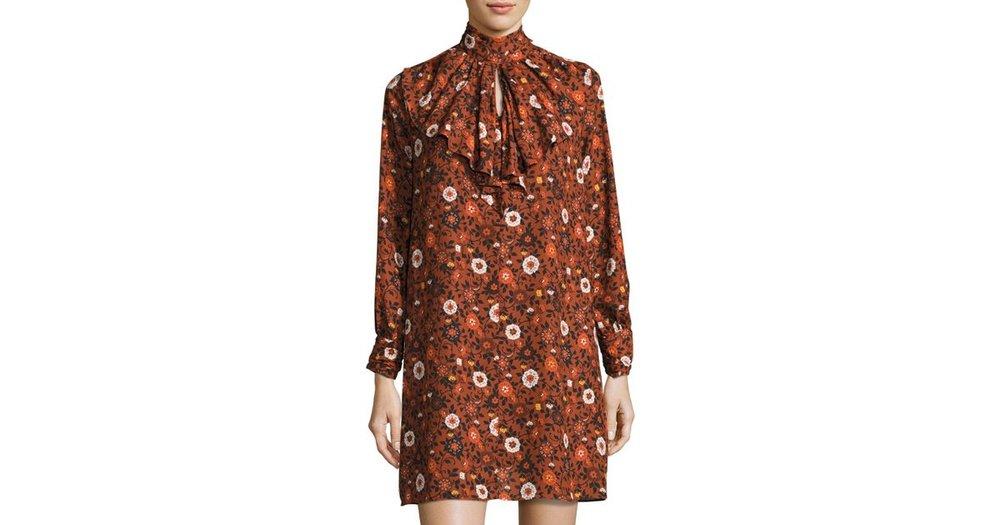 Nanette Nanette Lepore Cascade-Ruffle Floral-Print Dress, Orange. Neiman Marcus Last Call. Was: $129. Now: $62.