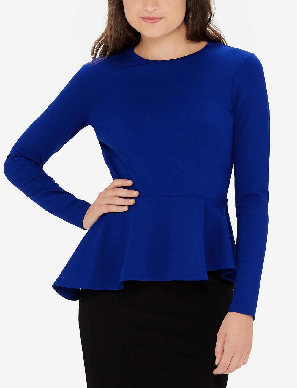 Eva Longoria Power Ponte Peplum Top. The Limited. Was: $99. Now: $79 plus an additional 50% off.