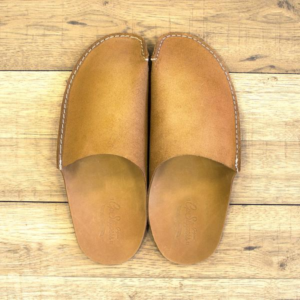 Tan Leather Mens Slipper. Available in multiple colors. CP Slippers. $39.50.