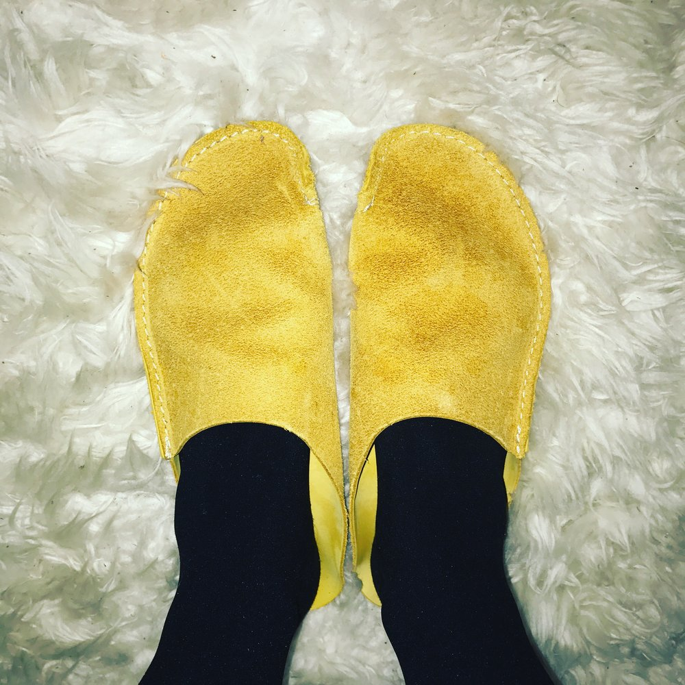Before I even take off my tights, it's time to slip on my new favorite house shoes.
